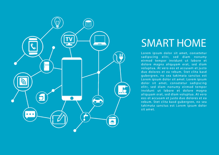 Smart Home Automation concept with mobile phone connected to network of devices. Vector template with text.