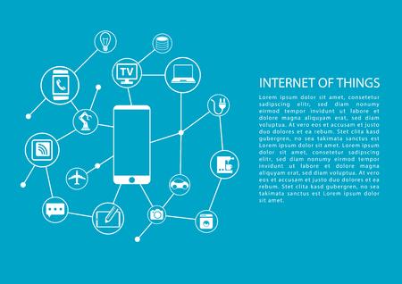 Internet delle cose IOT concetto con il telefono cellulare collegato alla rete di dispositivi. Modello di vettore con il testo.