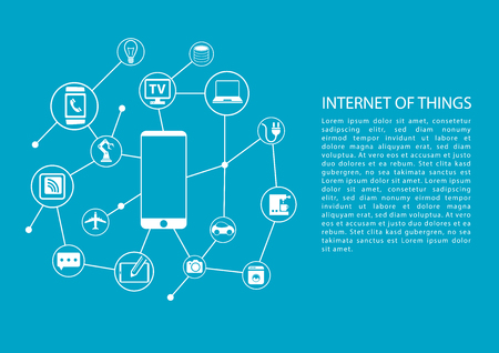 Internet of Things IOT concept with mobile phone connected to network of devices. Vector template with text.