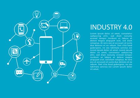 Industria 4.0 Internet industriale di cose concetto con il telefono cellulare collegato alla rete di dispositivi. Modello di vettore con il testo. Vettoriali