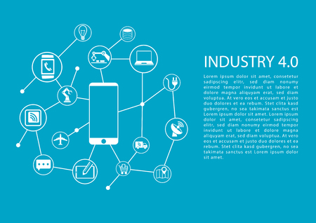 Industry 4.0 Industrial Internet of Things concept with mobile phone connected to network of devices. Vector template with text. Stock Illustratie