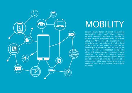 Mobiliteitsconcept vector illustratie met slimme telefoon en de aangesloten draadloze apparaten. Stockfoto - 51103116