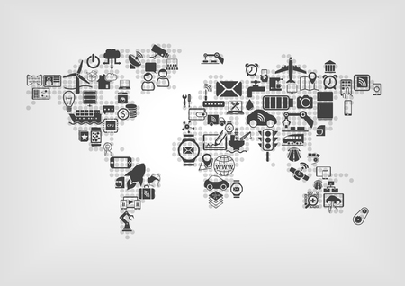 Internet of Things IOT and global connectivity concept. World map of connected smart devices using flat design