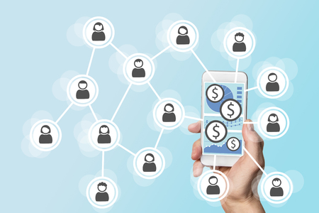 digitization: Mobile e-payment concept with smartphone and social network Stock Photo