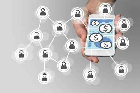 epayment: Mobile e-payment concept with smartphone and social network Stock Photo