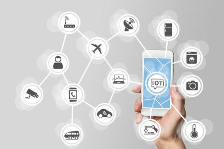 Internet des objets IOT notion illustrée par smartphone moderne