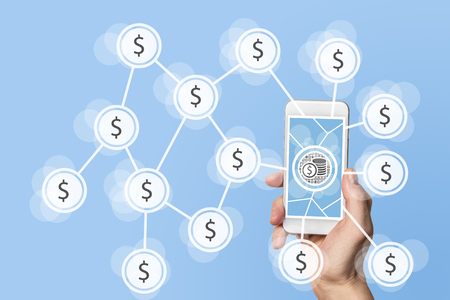 disruption: Mobile and electronic payment with smart phone Stock Photo