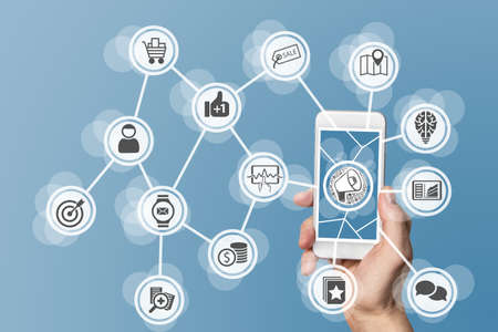 mobile marketing: Online and mobile marketing concept on smartphone