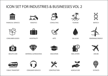 Business icons and symbols of various industries  business sectors Stock Illustratie