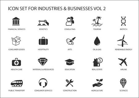 Zakelijke pictogrammen en symbolen van verschillende industrieën bedrijfssectoren Vector Illustratie