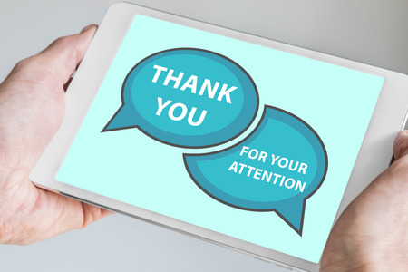 merci: Nous vous remercions de votre attention sur écran tactile Banque d'images