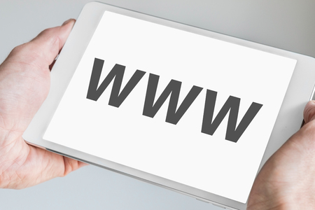 digitization: WWW text Displayed on touch screen Stock Photo
