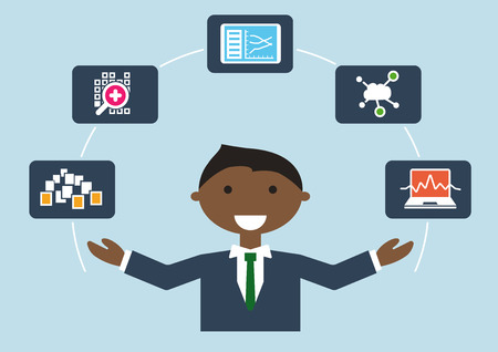 IT job profile vector illustration of businessperson. IT expert for big data so called data scientist or data analyst science