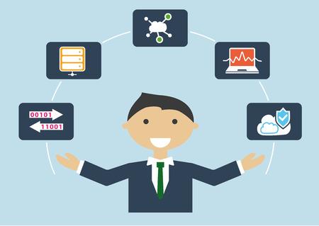 infraestructura: ilustración vectorial perfil de trabajo de TI del hombre de negocios. experto en TI para la computación en la nube y la infraestructura
