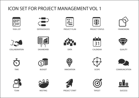 Project management icon set. Various vector symbols for managing projects,: such as task list, project plan, scope, quality, team, time, budget, quality, meetings.