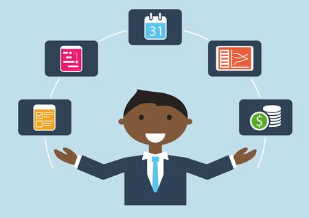 Les gens au travail: illustration vectorielle de gestionnaire de projet qui gère le plan de projet, le budget, les tâches