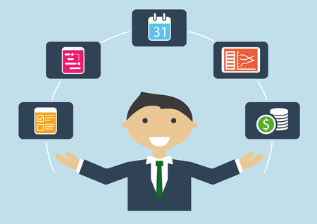 project manager: People at work: vector illustration of project manager who Manages project plan, budget, tasks