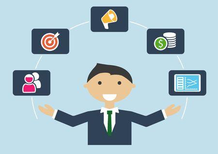 Mensen aan het werk: vector illustratie van marketing manager of marketing expert functieprofiel Vector Illustratie