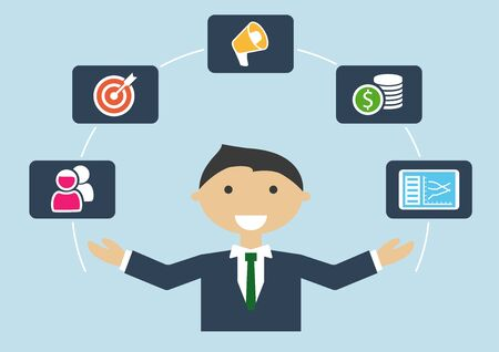 People at work: vector illustration of marketing manager or marketing expert job profile Vetores