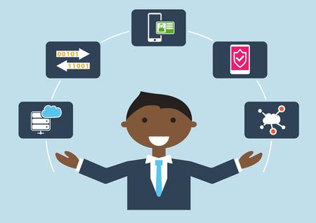 Persone al lavoro: illustrazione vettoriale di un esperto di sicurezza informatica che gestisce diversi compiti