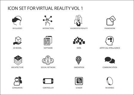 linearly: Virtual Reality (VR) vector icon set. Multiple symbols in flat design like virtual reality glasses, augmented reality, sensor, interaction, 3d model