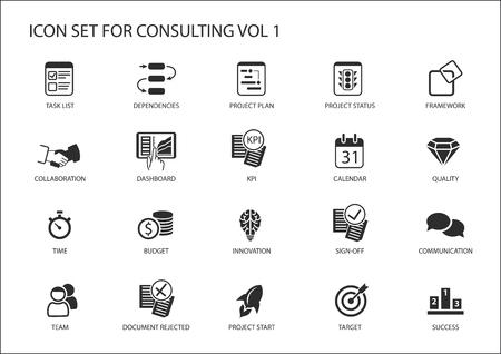 Vector icon set pour sujet consultation. Divers symboles pour le conseil en stratégie, conseil informatique, conseil aux entreprises et conseil en gestion