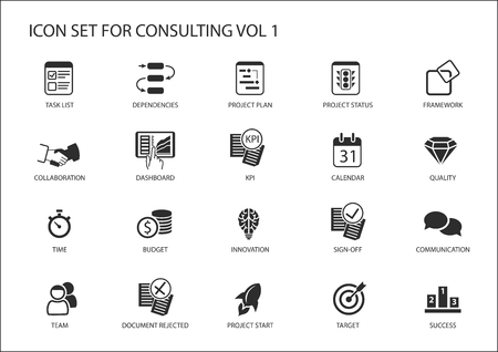 Vector icon set voor topic consulting. Vaus symbolen voor de strategie consulting, IT-consulting, business consulting en management consulting