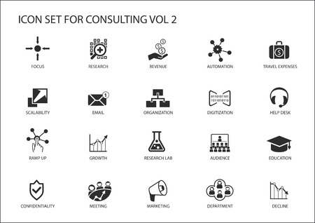 Vector icon set voor topic consulting. Diverse symbolen voor de strategie consulting, IT-consulting, business consulting en management consulting