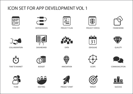 zestaw ikon wektorowych dla rozwoju app / aplikacji. Odnawialne ikony i symbole, takie jak tasklist, uzależnienia, planu realizacji projektu, komunikacja