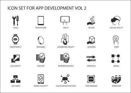 conjunto de iconos vectoriales para el desarrollo de aplicaciones / aplicación. reutilizables iconos y símbolos como, herramientas, dispositivos móviles, reunión, escalabilidad