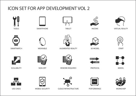 computer icons: Vector icon set for app  application development. Reusable icons and symbols like, tools, mobile devices, meeting, scalability