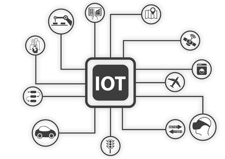IOT (internet of things) infographic. Vector illustration for connected devices using different symbols