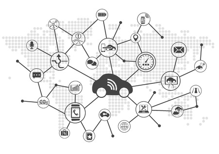 Connected car vector illustration infographic. Concept of connecting to vehicles with various devices.