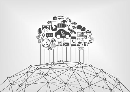 automóvil conectado y conexión a internet de las cosas concepto de infografía. Coches sin conductor conectados a la World Wide Web. Ilustración de vector
