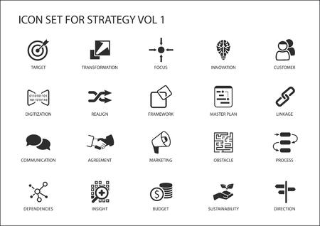Conjunto del icono de la estrategia. Varios símbolos de temas estratégicos como objetivo, obstáculo, la dirección, el enfoque, la realineación, la perspicacia, el presupuesto, el marketing, la dirección Ilustración de vector