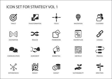 Strategy icon set. Various symbols for strategic topics like target, obstacle, direction, focus, realignment, insight, budget, marketing, direction