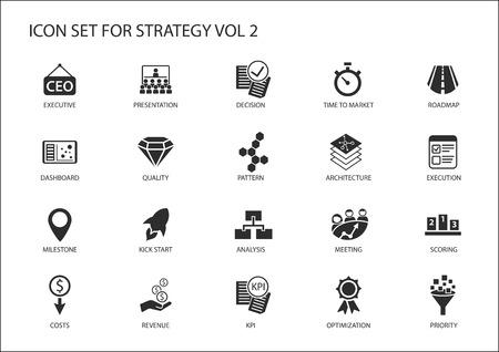 Conjunto del icono de la estrategia. Varios símbolos de temas estratégicos como la optimización, tablero de instrumentos, la priorización, hito, los costes, los ingresos