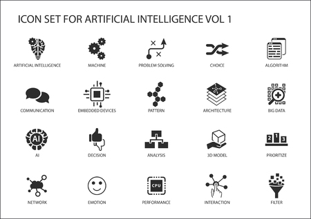 icon set for artificial intelligence (AI) concept. Various symbols for the topic using flat design