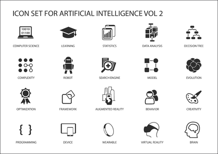 ai: icon set for artificial intelligence (AI) concept. Various symbols for the topic using flat design