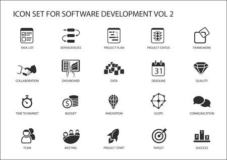 zestaw ikon Rozwój oprogramowania. symbole mają być stosowane do tworzenia oprogramowania i technologii informatycznych
