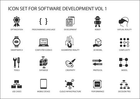 Conjunto del icono del desarrollo de software. símbolos que se utilizarán para el desarrollo de software y tecnología de la información