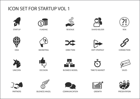 Business startup icon set.
