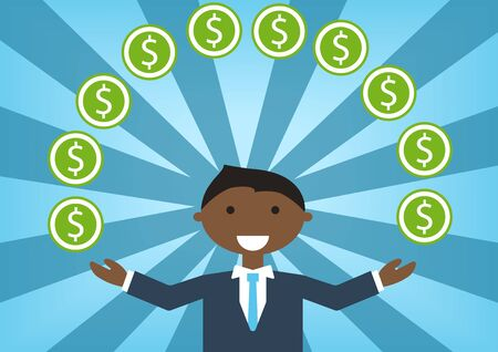 happiness or success: Successful black business man handling money and budget. illustration of cartoon character juggling dollars Illustration