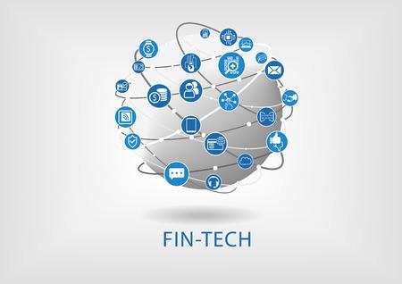 Fin-tech (Finanztechnologie) Infografik und Hintergrund Standard-Bild - 55367478