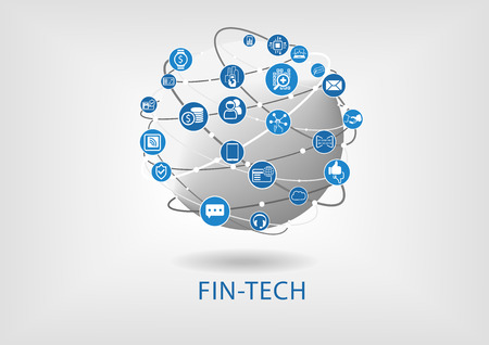 Fin-tech (financial technology) infographic and background Vectores