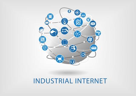 globo terraqueo: el concepto de Internet Industrial Vectores
