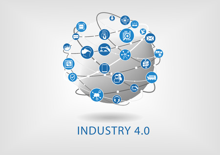 Industry 4.0 infographic. Connected smart devices with globe. Illustration
