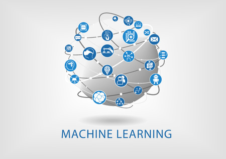 Machine learning infographic. Connected intelligence devices with globe.