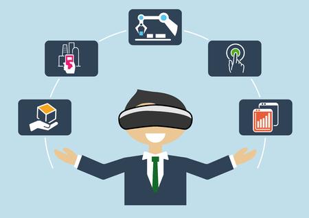La realidad virtual para el industrial internet de las cosas (IOT) y automatización de procesos de negocio avanzadas