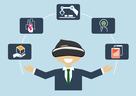 industrial automation: Virtual reality for industrial internet of things (IOT) and advanced business processes automation Illustration